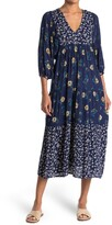 Thumbnail for your product : Angie Floral V-Neck 3/4 Sleeve Tiered Midi Dress