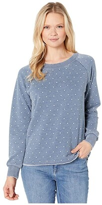 Alternative Burnout French Terry Lazy Day Pullover (Bay Blue Pindot) Women's Clothing