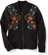 Old Navy Floral-Embroidered Fleece Bomber Jacket for Girls