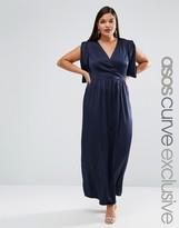Asos RED CARPET Satin Maxi Dress With Drape And Fold Sleeve