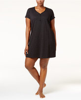 Charter Club Plus Size Henley-Style Printed Sleepshirt, Created for Macy's
