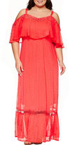 Boutique + Ashley Nell Tipton for + Short Sleeve Cold Shoulder Maxi Dress-Plus