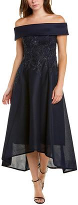 Teri Jon By Rickie Freeman Off-The-Shoulder Midi Dress