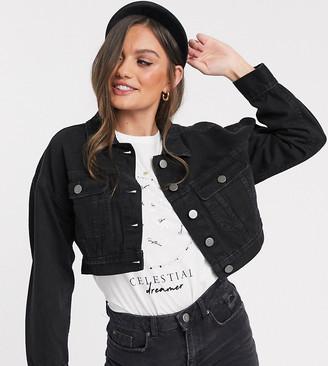 ASOS DESIGN Petite denim shrunken trucker jacket in black