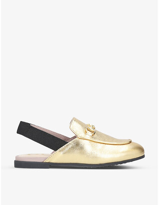 Gucci Princetown metallic leather slingback loafers 1-4 years