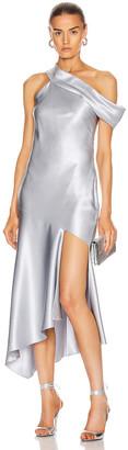 Cushnie Off the Shoulder Cascading Slip Dress in Pearl Blue | FWRD