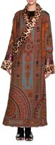 Etro Printed Robe Coat with Fur Lapel & Cuffs, Red