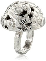 "Devon Leigh Bold Silver"" Rhodium Dipped Carved Ball Ring, Size 7"