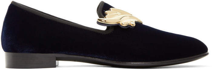 Giuseppe Zanotti Navy Suede Kevin Loafers