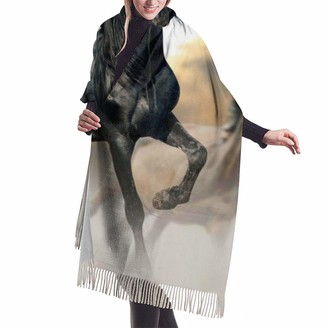 PecoStar Black Running Horses Winter Warm Scarf Pashmina Shawl Wrap for Women Long Large Soft Scarves