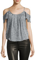 Joie Adorlee Cold-Shoulder Heart-Print Silk Blouse, Granite/Porcelain