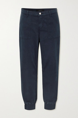 J Brand Arkin Cropped Cotton-blend Sateen Track Pants - Navy