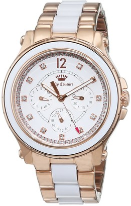 Juicy Couture Hollywood Women's Quartz Watch with White Dial Chronograph Display and Rose Gold Stainless Steel Bracelet 1901303