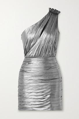 retrofete Cassia One-shoulder Cutout Ruched Lame Mini Dress - Gunmetal