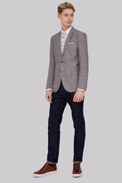Moss Bros Slim Fit Light Grey Linen Check Jacket