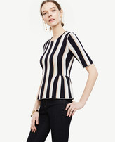Ann Taylor Stripe Shirred Peplum Sweater