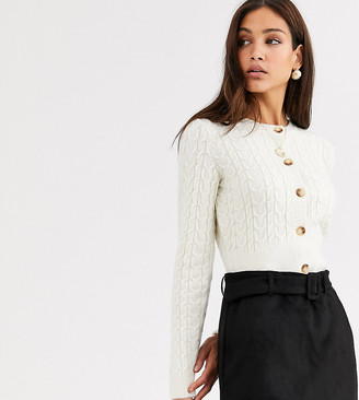 Asos Tall DESIGN Tall cropped cable cardigan-Cream