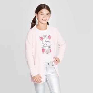 Cat & Jack Girls' Long Sleeve Open Layering Sweater Blush