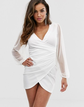 ASOS DESIGN balloon sleeve dobby mini dress
