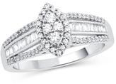 Zales 1/2 CT. T.W. Composite Diamond Marquise Frame Split Shank Ring in 10K White Gold