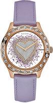 GUESS Women's Purple Leather Strap Watch 38mm U0909L3