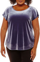 WORTHINGTON Worthington Short Sleeve Velvet T-Shirt-Womens Plus
