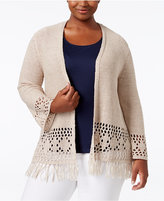 Style&Co. Style & Co. Plus Size Fringe Cardigan, Only at Macy's