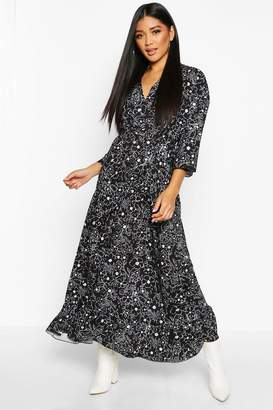 boohoo Floral Tie Waist Frill Hem Maxi Dress