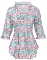 Sophie Cotton Blouse Aqua Pattern