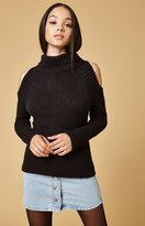 Lucca Couture Tatiana Cold Shoulder Turtleneck Sweater