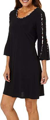 MSK Women's Trapeze Dress with Animal Piping