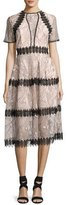 Nicholas Iris Lace Paneled Midi Dress, Pink