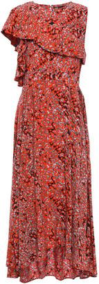 Maje Layered Printed Crepe De Chine Midi Dress