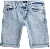 River Island Mens Light Blue acid wash skinny fit denim short