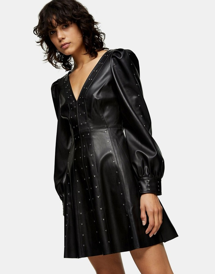 Topshop faux leather studded mini dress in black