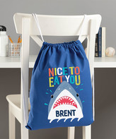 Personalized Planet Backpacks Blue - Blue 'Nice To Eat You' Personalized Drawstring Bag