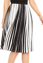 Vince Camuto Linear Accordion Striped Pleated Skirt