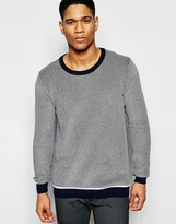 !solid Textured Knitted Jumper With Contrast Hem