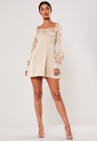 Missguided Nude Satin Milkmaid Skater Dress