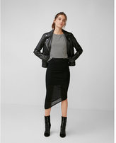 Express asymmetrical ruched mesh pencil skirt