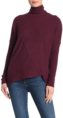 H By Bordeaux Mock Neck Ribbed Knit Pullover