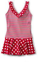 Classic Little Girls V-Neck Skirted One Piece Swimsuit-Strawberry Stripe