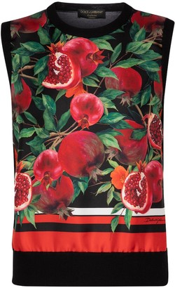 Dolce & Gabbana Exclusive to Mytheresa Pomegranate-print cashmere and silk vest