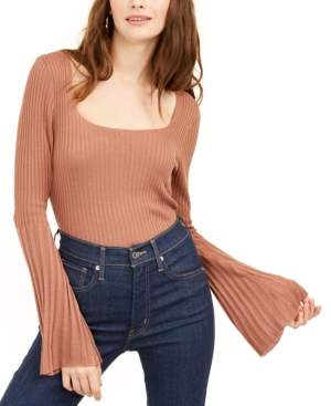 Ash & Violet Ribbed Bell-Sleeve Sweater