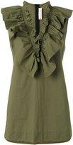 Marni frill neck blouse - women - Cotton - 38