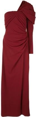 Tadashi Shoji One-Shoulder Draped Gown