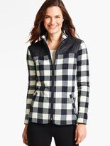 Talbots Quilted Mock-Neck Fleece Jacket-Buffalo Check
