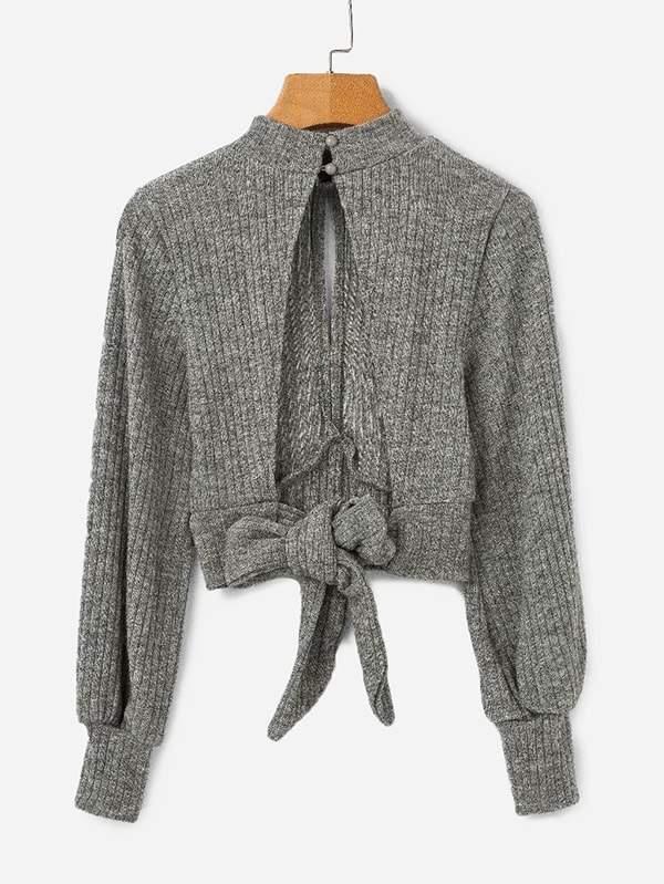 Shein Open Back Knot Detail Crop Marled Knit Jumper