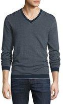 Michael Kors Cotton Dot-Pattern V-Neck Sweater, Midnight