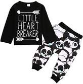 Albee Yang Little Boys Long Sleeve Letters Print T-shirt and panda Pants Outfit (18-24 months, )